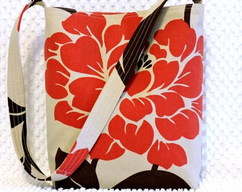 Red and Brown Mod Deco Floral Shoulder Bag by BizzieLizzieHandmade