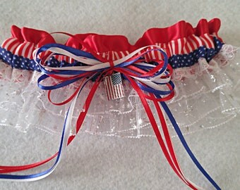 New 2017•Spirit of America Garter•Patriotic Garter•Fourth of July•4th of July•Military•FD•Police•Election•Independence Day•Double Ruffles