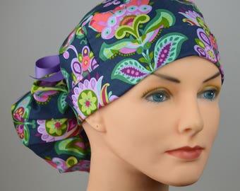 Scrub Hats // Scrub Caps // Scrub Hats for Women // The Hat Cottage // Ponytail // Folk Bloom