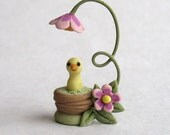 Miniature  Chick in Fairy Blossom Nest Basket OOAK by C. Rohal