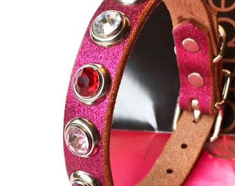 Glitter Pink Leather Dog Collar with Giant Sparkles, Size S to fit a 9-12 Neck, Small Dog Leather Collar, Eco-Friendly, Seattle Handmade
