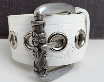 White Tooled Leather Cuff Bracelet Wristband Mini Belt with Metal Flower Roller Bar, Adjustable Size, Seattle Handmade by Greenbelts, OOAK