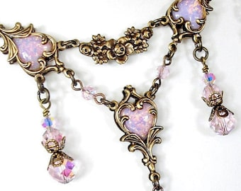 Captured Hearts - Pink Glass Opal Necklace - Victorian Style Jewelry