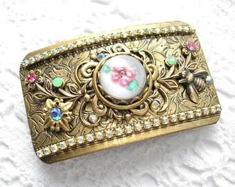Pastel Garden Victorian Style Barrette Antiqued Brass Barrette Hair Accessory
