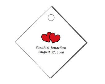 """Personalized Wedding Diamond Party Favor Gift Hang Tags 2x2"""""""