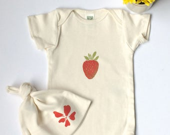 Strawberry Print Organic Onesie and Hibiscus Flower Hat Set-Designed and Handprinted in Seattle-Short Sleeve Onesie