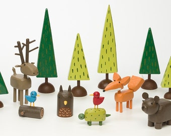 forest set | christmas putz | tiny forest | build a forest | woodland scene | forest scene