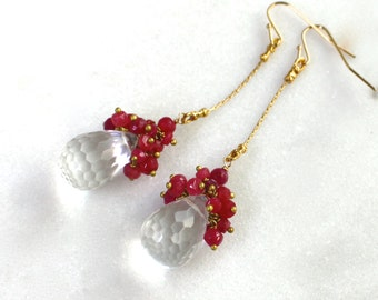Sparkly RUBY, Crystal Quartz Long and Lean Confetti Earrings in Gold...