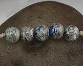 ON SALE Handmade Glass Lampwork Bead Set (5) Handmade by Jason Powers SRA