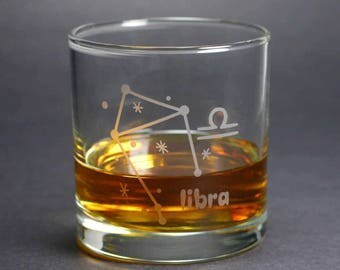 Libra Zodiac Constellation lowball glass
