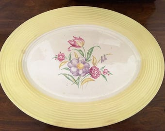 Vintage Floral Platter Plate by American Limoges Triumph Cottage Yellow Pink Purple epsteam