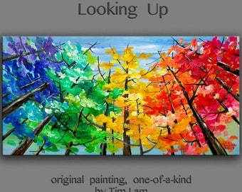 Looking Up tree painting Changing Season Aspen art large abstract art wall art gallery art modern art canvas art by Tim Lam 48x24