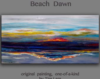 Original landscape Painting abstract sunset wave art Acrylic Painting by tim Lam 48x24