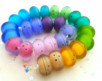 Lampwork Beads Rainbow Urban Scribbles per pair or set