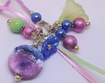 Handmade Lampwork Focal Bead Beaded Bookmark Book Thong Raspberry Blue