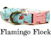 "Whimsical Pink Flamingo Summer Vintage Inspired Light Blue Dog Collar - Antique Brass Hardware - ""Flamingo Flock"""