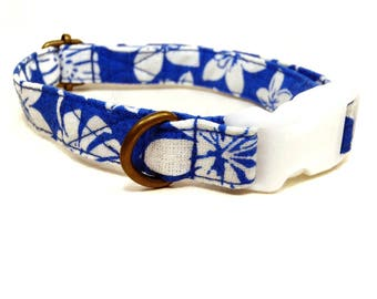 The Luau - Playful Bright Blue White Fern Hibiscus Hawaiian Summer Organic Cotton CAT Collar - All Antique Brass Hardware