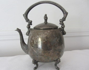 Silver On Copper Tea Pot With Natural Vintage Patina