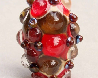 SIDE-DISH Handmade Lampwork Art Glass Focal Bead - Flaming Fools Lampwork Art Glass  sra