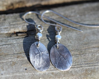 Wisconsin Red Maple tree fine silver leaf earrings boho and  hippie and cool