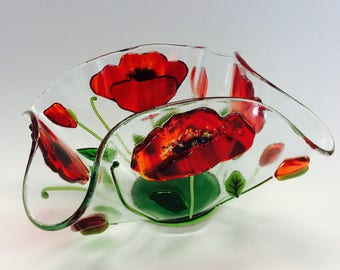 Fused Glass Candle Holder/Votive (Poppies)
