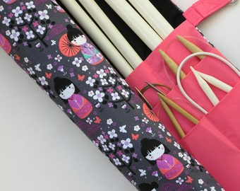 large knitting needle case - knitting needle organizer - japanese dolls and floral print - 36 pockets
