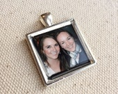 Custom Photo Bridal Bouquet Charm Set in Silver Tray l Square or Circle