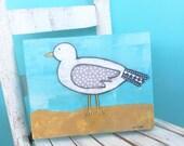 Seagull art beach art coastal bird art original mixed media on canvas Beach house decor Original painting Seaside art Summer wall decor