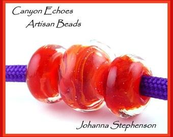 BIG HOLE Hot Lava Lampwork Beads
