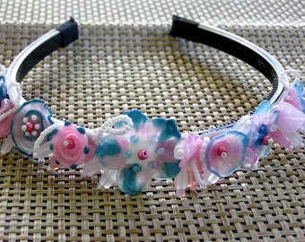 Handmade lampwork beads wedding bithday bohemian bridal tiara/headband -turquoise pink