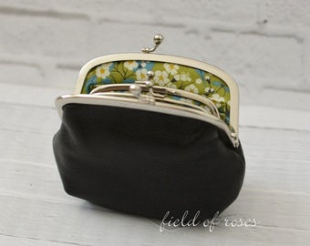 Mother and Daughter Black Leather Frame Purse with Liberty of London Green Floral Lining Made to Order