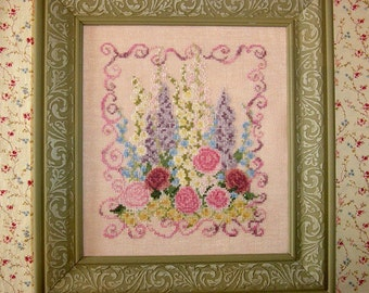 Pink Roses Flower Garden Cross Stitch Pattern