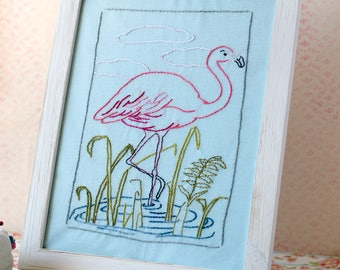 Flamingo Pond Hand Embroidery PDF Pattern