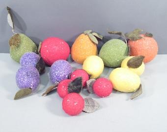 Vintage lot Glitter fruit, faux fruit, crafting fruit, foam fruit, lemons apple orange berries plums lime pear