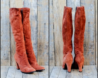 1970s, Suede Boots, Us 5.5 5 1/2, Uk 3.5, Eu 36, Orange Suede Boots, Woman Suede Boots, Suede Knee High Boots, High Heel Boots, ITALY