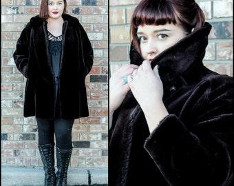 Faux Fur Coat, Womens Size Large Coat, Warm Winter Coat, Dark Brown Coat, Heavy Winter Coat, Vegan Coat, Brown Fur Coat, Faux Mink Coat,