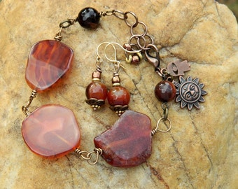 Carnelian Slab Gemstone Bracelet Set