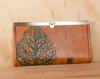 Leather Checkbook Wallet - Ladies Clutch Wallet - Leaf pattern in blue and antique tan - Womens Wallet