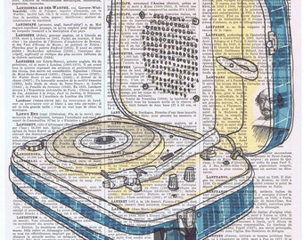 Encyclopedia,dictionary.book page print art.vintage turntable.Stereo.Home.School,Music.Record Player.artist.dj.disc jockey.mom.dad.lp.vinyl