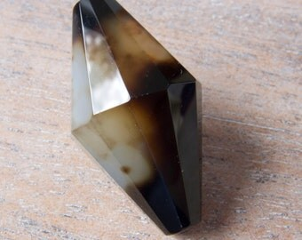 Large Natural Premium Quality Gemstone Black Agate Faceted Bicone Focal or Pendant Bead - 35mmx20mm