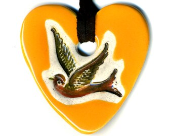 Bird Heart Ceramic Necklace in Orange