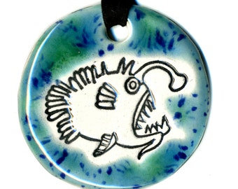 Anglerfish Necklace in Speckled Blue