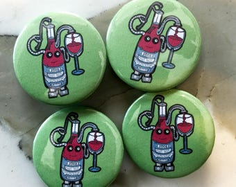 Wine Bot Robot Pin Back Button