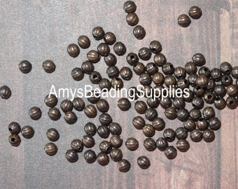 40 Melon 3.2mm Beads, Vintaj Natural Brass  (BD236)