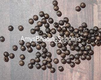 40 Melon 3.2mm Beads, Vintaj Natural Brass  (BD236)