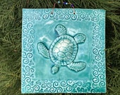 Sea Turtle Tile In Lapis Blue Glaze