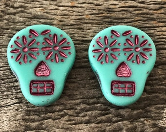 Czech Glass Sugar Skull Beads, Matte Opaque Turquoise with Fuchsia Wash, 20X17mm, 2 Qty.