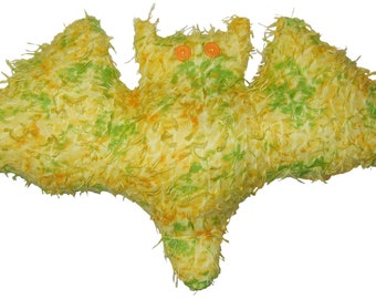 Yellow and Green Fuzzy Bat Pillow
