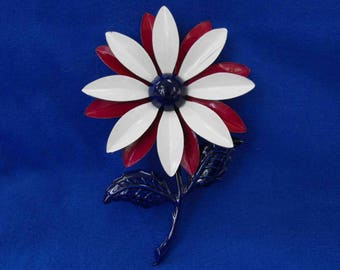 Vintage Brooch, Enamel on Metal, Red, White and Blue, LARGE, ca 1960 NT-359