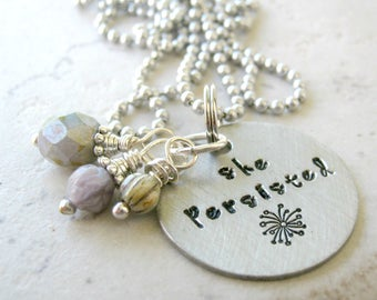 She Persisted Necklace, Feminism necklace, Feminist Necklace, Girl Power, Empowerment,  aluminum ball chain, gifts for her, hand stamped